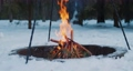 Bonfire in the winter forest in slow-motion 74795776
