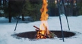 Bonfire in the winter forest in slow-motion 74795778