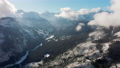Scenic Aerial Background View of Mountains Range Landscape in Sunny Winter Day 74810791