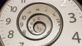 Golden Classic Round Clock with time hands turn backward infinity. Round Clock Time running backwards. 74830084