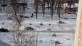 Residential area of Moscow on a sunny winter day after heavy snowfall, Russia 74835704
