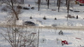 Residential area of Moscow on a sunny winter day after heavy snowfall, Russia 74835707