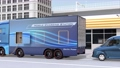 A mobile charging truck equipped with a quick charger to charge EVs. EV power shortage road service concept 74932098