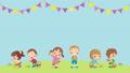 可愛的孩子們享受復活節狩獵的動畫循環副本空間模板 74935264