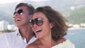 Young beautiful couple enjoy life on the yacht 74947441
