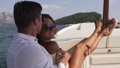 Young beautiful couple enjoy life on the yacht 74947442
