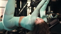 Fitness girl play around at workout in the gym. Pretty caucasian fitness woman. Bodybuilding, fitness and health care lifestyle concept   74970109