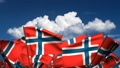 Waving Norwegian Flags (seamless & alpha channel) 75011177