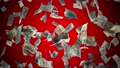 Dollar falling isolated on red background with alpha channel. 3d perspective view of dollar currency. 3d 75087247