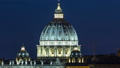 Night view at St. Peter's cathedral timelapse from the Pincio Landmark in Rome, Italy 75116001