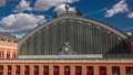 Puerta De Atocha train station building timelapse hyperlapse in Madrid, Spain. 75116004