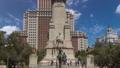 Stone sculpture of Miguel de Cervantes timelapse hyperlapse and bronze sculptures of Don Quixote and Sancho Panza 75116012