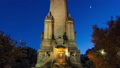 Cervantes monument timelapse hyperlapse on the Square of Spain in Madrid day to night transition 75116020