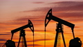 Oil pump on a sunset background. World Oil Industry. Timelapse. 75134757