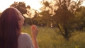 Girl blow on dandelion at the sunset 75174718