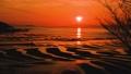 새빨간 석양에 환상적인 砂紋 경치 풍경 일본의 물가 백선 · 석양 백선 계절 일본 가마와 해안 75185715