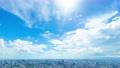 東京 大空タイムラプス 夏空 太陽フレア 六本木より目黒 大崎 横浜方面まで ティルト  75285606