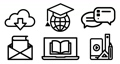 Icon set of internet education concept, e-learning resources, distant online courses. 75420884