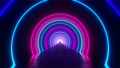 3d render seamless VJ loop with infinity flight inside circle neon lights tunnel 75563550