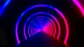 3d render seamless VJ loop with infinity flight inside circle neon lights tunnel 75563574