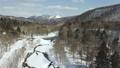 冬の北海道 雪景色と渓流(支笏湖周辺 空撮) 75586828