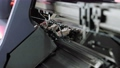 Machine weaving jersey. Automatic conveyor line. Textile factory, Plant. Industry garment. 75798321
