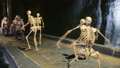 Ancient mythical warriors fight creepy skeletons on a stone bridge. The animation is designed for military, historical and fantasy backgrounds. 75923521