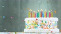 Birthday Cake With Burning Colorful Candles on Grey Background. 75971599
