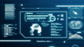 HUD Robot Scanning System ability user interface computer screen display with pixels background. Blue abstract hologram holographic technology concept. Sci-fi. 4K motion graphic footage graphic design 76010902