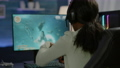 Closeup of competitive black woman player holding joystick playing space shooter 76089460