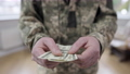 Male Caucasian hands holding dollars. Unrecognizable army man standing indoors with cash. Military service payment or veteran allowance. 76090905