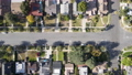Aerial top view of Pasadena neighborhood in California 76099787