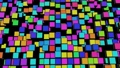 4k abstract looped dark background waves of cubes on plane and neon lights. Grid of cubes like neon bulbs. VJ cyberpunk neon style bg for event, presentation. Classic simple motion design backdrop 76100214