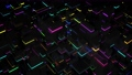 Dark science fiction background. Abstract looped 4k dark background neon cubes light bulbs. Different sizes cubes network lighting multicolor neon light, like night city. 76100216