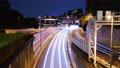 東京タイムラプス 代官町から眺める千鳥ヶ淵方面の首都高速都心環状線の自動車の光跡と夜景 76122670