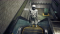 The astronaut moves along the escalator. He rushes to his space work and to his spaceship. The animation is for fantastic, the futuristic or space travel backgrounds. 76129383