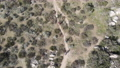 Aerial view of mountain bikers in small trails in the mountain, California 76165242