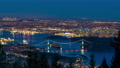 Vancouver city downtown panorama in night. Vancouver Harbour marina aerial view. Lions Gate Bridge, British Columbia, Canada. 76168173
