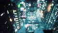 A girl sits on the roof of a skyscraper, dangles her legs and admires the neon city of the future. Animation for fiction, cyber and sci-fi backgrounds. View of an future city. 76188057