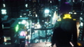 The girl of the future sits on the roof of a high-rise building and admires the city at night. Animation for fiction, cyber and sci-fi backgrounds. View of an future city. 76213114