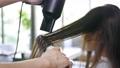Hairdresser using hairdryer on customer 76216471