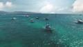 Sailboats, ships at sea water aerial. Summer nobody nature seascape. Tropic paradise island. Yachts 76227414