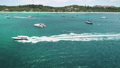 Sailboats, yachts on ocean coast aerial. Water transport at sea bay. Tropical nobody nature seascape 76227419