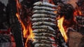 Traditional Malaga dish - sardine skewers grilled on burning charcoal in brazier 76231965