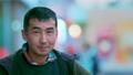 Sadness portrait homless asian bum looking at camera. Jobless people alcoholic. 76234861