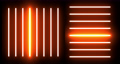 Futuristic neon lights on black wall background. Flicker flashing colorful neon lines light. Multicolor spectrum looped animation fluorescent glowing lights. 4K video modern interface 76296208