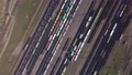 Aerial view of Railway sorting station and A lot of wagons at a railway 76299924