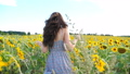 Close up of pretty girl running through sunflower field. Young woman in dress having fun jogging through meadow. Scenic summer landscape on background. Happiness and freedom concept. Back view 76303585