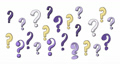 Seamless loop background with moving question marks. Cartoon question marks in grunge texture style. Hand drawn question mark. Alpha channel. 4K video graphic animation 76321482