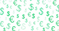 Animation seamless loop pattern with american dollar, euro symbols. Drawn by hand dollar, euro symbols in grunge texture style on white. Design can be used for your ad, banner of USD money. 4K video 76335447